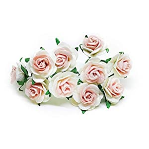 """1"""" White Blush Paper Flowers Paper Rose Artificial Flowers Fake Flowers Artificial Roses Paper Craft Flowers Paper Rose Flower Mulberry Paper Flowers, 20 Pieces 2"""