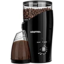 Gourmia GCG185 Electric Burr Coffee Grinder - Heavy Duty Steel Grinding Disc - Removable Bean Hopper & Cup - 22 Grind Size Settings - 2-18 Cup selection - 150W, Black