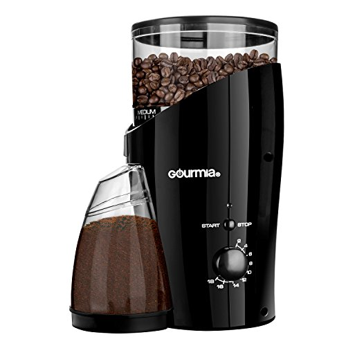 Gourmia GCG185 Electric Burr Coffee Grinder, Heavy Duty Steel Grinding Disc 20 Coarse / Fine Settings, 2-18 Cups - 110V