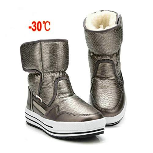 De Gris Antideslizante Caliente Botas Zapatos Piel Moda Resistentes pf8gqX