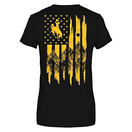 FanPrint Wyoming Cowboys T-Shirt - Nation Flag - Mountain - Premium Women's Tee/Black/XL