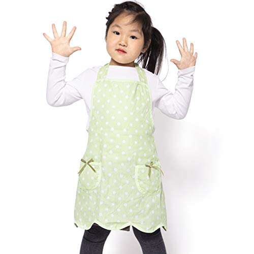 NEOVIVA Kids Apron with Pockets for Toddlers, Lightweight Child Apron for Play Kitchen, Style Wendy, Polka Dots ()