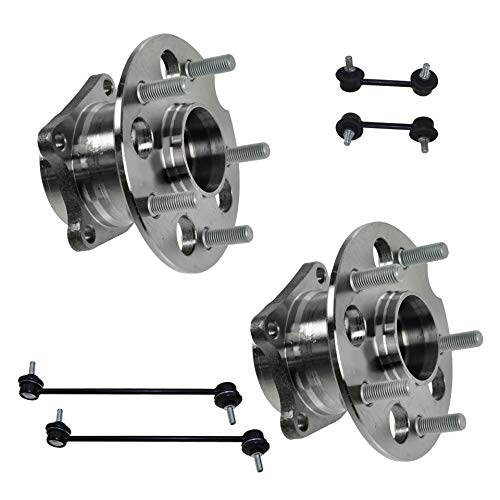 Detroit Axle - 6PC Rear Wheel Bearing & Hub Assemblies w/Sway Bar Links for 2001 2002 2003 2004 2005 Toyota RAV4 AWD 4WD 4x4