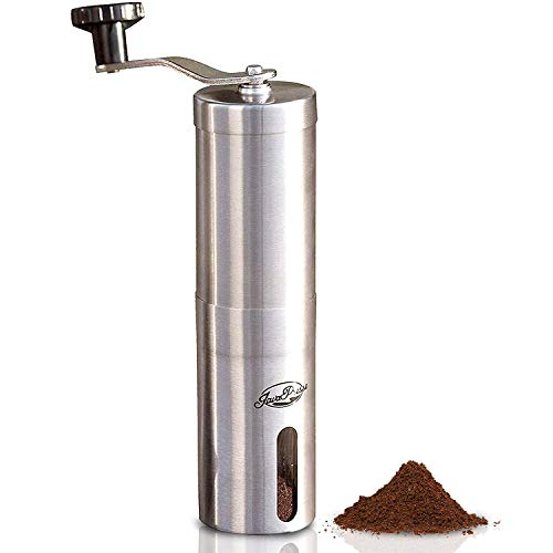 JavaPresse Manual Coffee Grinder with Adjustable Setting - Conical Burr Mill & Brushed Stainless Steel - Burr Coffee Grinder for Aeropress, Drip Coffee, Espresso, French Press, Turkish Brew (Coffee Mill Ceramic)