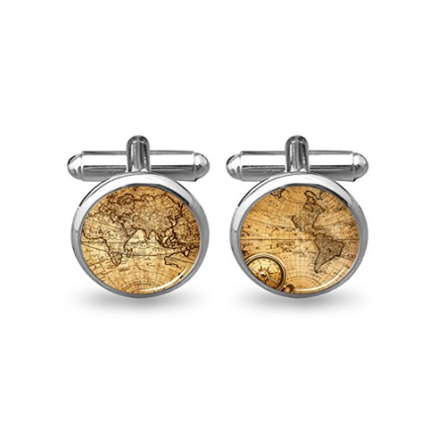 ZUNON World Map Cufflinks Wedding Personalised Gifts for Father Grandfather Dad Tie (World map Cufflinks Silver)