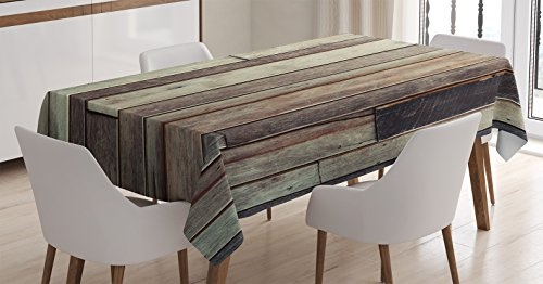 Ambesonne Wooden Tablecloth, Antique Old Planks Flooring Wall Picture American Style Western Rustic Panel Graphic Print, Dining Room Kitchen Rectangular Table Cover, 60 X 84 - Pictures Kitchen Western