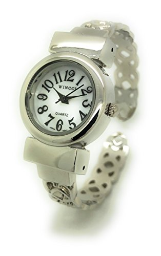 Ladies Small Hearts Design Metal Bangle Cuff Fashion Watch Pearl Dial Wincci (Heart Dial Silver Cuff Watch)