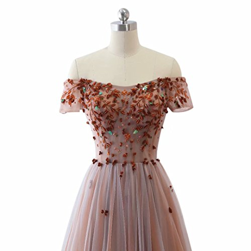 A Off The 2018 Beads Shoulder for with Short Women Long Dresses Tulle Sleeves Evening line Dress Color6 Prom r5q1Ewr