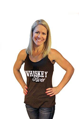 Whiskey River by Tough Little Lady Womens Graphic Print Tank (X-Large, Macchiato)