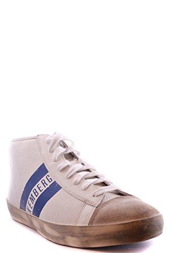 Bikkembergs Hombre MCBI042091O Blanco Cuero Zapatillas Altas