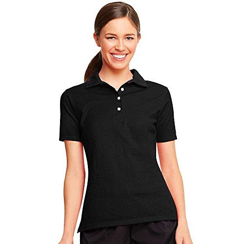 Hanes Womens Moisture Wicking X-Temp Polo Shirt Schwarz