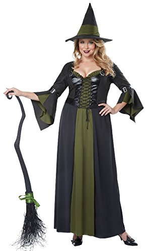 Long Black Witch Dress (California Costumes Women's Plus-Size Classic Witch Long Dress Plus, Black/Green, 1X-Large)