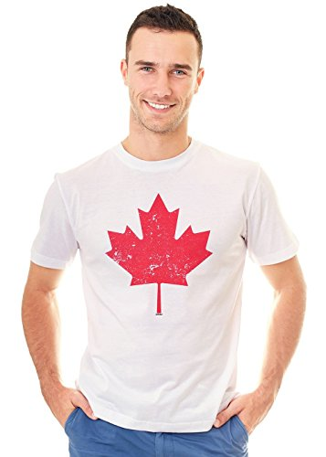 - Retreez Vintage Canada Canadian The Maple Leaf Flag Graphic Printed Unisex Men/Boys/Women T-Shirt Tee - White - Large