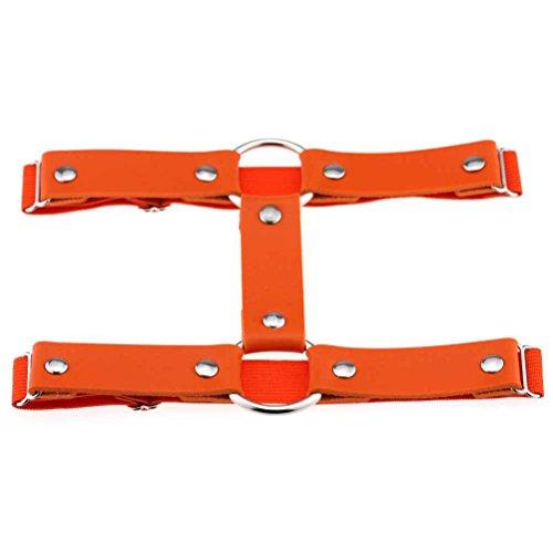 Riverlily Frauen reizvolle elastische Leder Leg Garter schenkelhohen Doppel Gürtel runde Ringe Strumpfband Orange (Runde Leder)