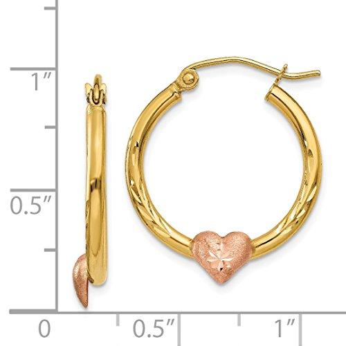ICE CARATS 14k Yellow Rose Gold Heart Hoop Earrings Ear Hoops Set Love Fine Jewelry Gift Set For Women Heart by ICE CARATS (Image #6)