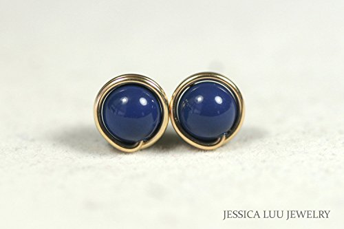 Gold Lapis Stud Earrings Dark Lapis Swarovski Pearl Earrings Wire Wrapped Gold Earrings - Handmade Wire Wrapped Earrings