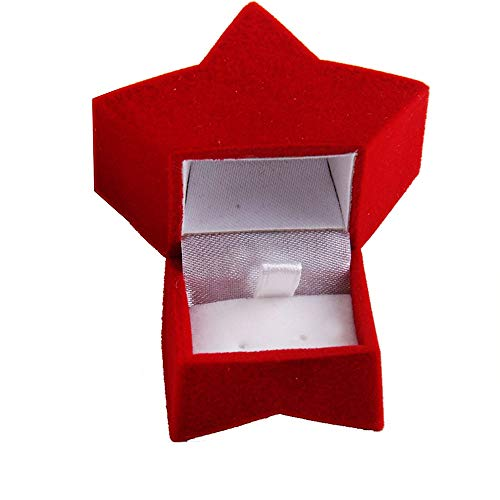 Potelin Jewellery Box Ring Box Earrings Box Necklace Storage Beautiful Storage Five Pointed Star Style Perfect For Jewelry Protection (red)