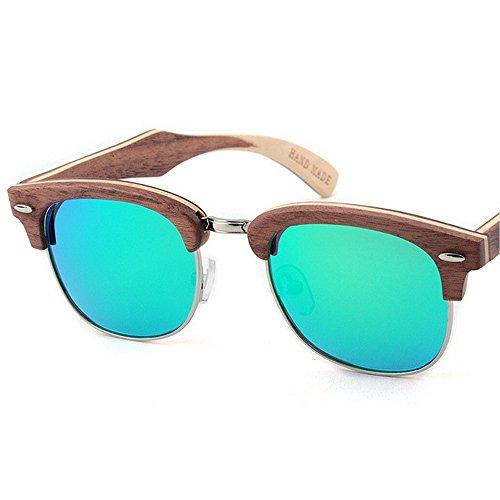 decoración gafas de conduce de de semi protección la de madera hechas sol UV Retro hombres polarizadas sin la calidad sol de gafas alta de Sung Verde mano a de de reborde Beach que sol los gafas Remache las 0nxPtv