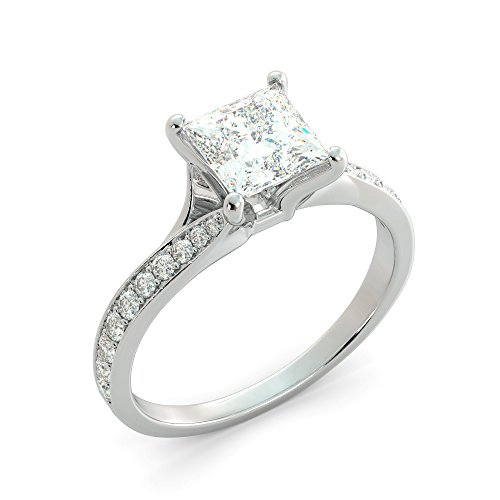 2.20 tcw Princess Cut Charles & Colvard Forever One Moissanite & Round Cut Diamond Split Shank Custom Engagement Ring Your choice of 14k White Rose or Yellow Gold