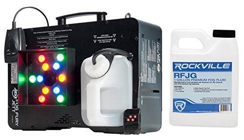 Package: American DJ Fog Fury Jett 700 Watt Vertical Fog Machine w/12 LED, 3 Modes, DMX and Wireless Remote + Rockville RFJG Gallon Fog/Smoke Juice Fluid ()