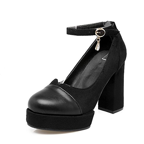 Odomolor Women's Round-Toe High-Heels Frosted Solid Buckle Pumps-Shoes, Black, 35