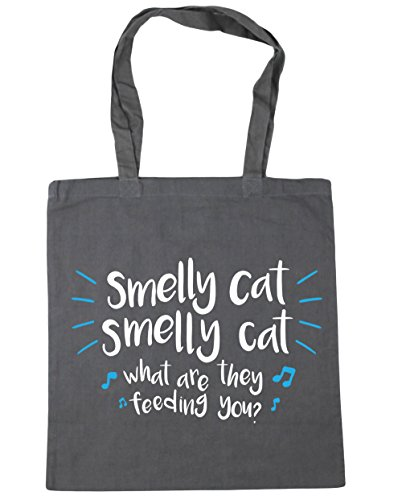 HippoWarehouse Smelly cat smelly cat what are they feeding you Tote Shopping Gym Beach Bag 42cm x38cm, 10 litres Graphite Grey