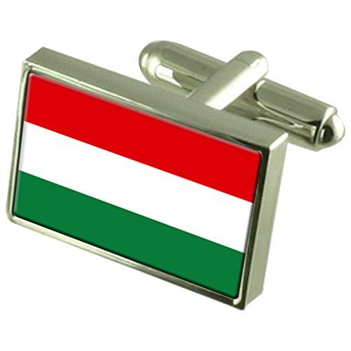 En Argent Sterling de manchette Drapeau Hongrie