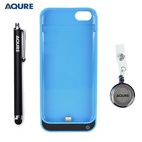 AQURE 2200mAh Portable Outdoor Slim External Rechargeable Backup Battery Charger Charging Case Cover with Stylus Pen and Retractable Reel for iPhone 5G 5C 5S (Blue)