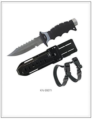 New ScubaMax Full Size Titanium Pointed Scuba Diving Knife with 2 Straps & Sheath (Black)/FBM