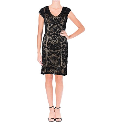 Sue Wong Womens Cap Sleeves Party Cocktail Dress Black 4
