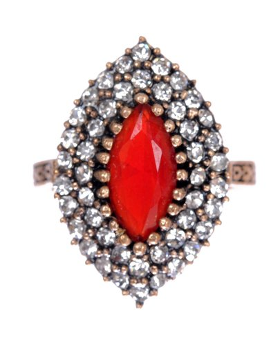 Antique Marquise Cut Ruby Gemstone Diamond Accent Red Hurrem Sultan Style Vintage (Ruby Antique Style Ring)