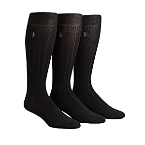 Polo Ralph Lauren Over The Calf Dress Socks 3-Pack, One Size, Black