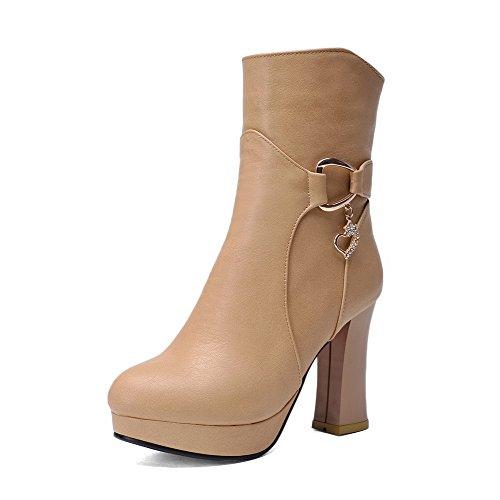 AgooLar Damen Rein Hoher Absatz PU Reißverschluss Stiefel, Aprikosen Farbe, 37