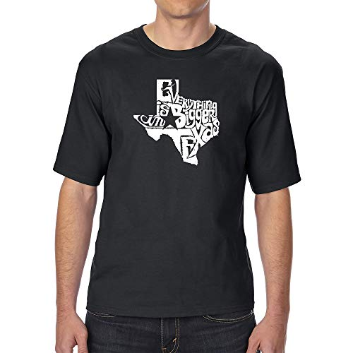 LA POP ART Men's Tall and Long Word Art T-Shirt - Everything is Bigger in Texas ()