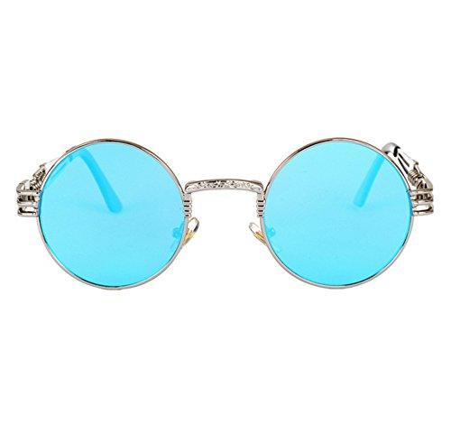 Coloré Soleil Punk Keephen Rond de Réfléchissant Bleu Lunettes Réfléchissant Personnalité UV400 Argent Cadre Rétro Classique nqvrFwvxtI