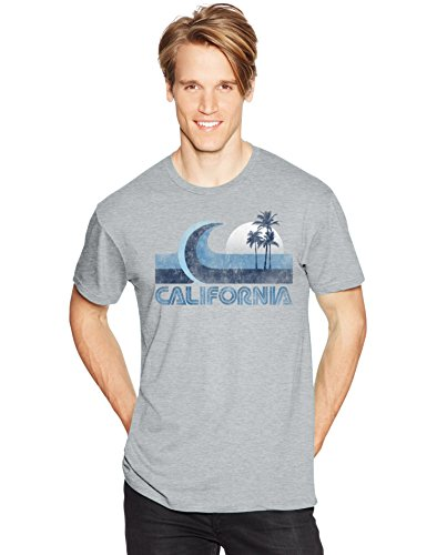 Hanes Men's Graphic Vintage Cali Collection T-Shirt, California Wave Light Steel, X-Large