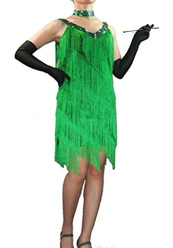 [Whitewed 20'S Great Gatsby Themed Birthday Party Formal Gown Dresses Gifts Green] (Latin Themed Party Costume)