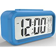 Gloue Digital Alarm Clock Battery Operated- Alarm Clocks Bedside- Temperature Display- Snooze and Large Display- Smart Night Light - Battery Operated Alarm Clock and Home Alarm Clock.