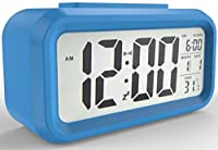 Gloue Digital Alarm Clock Battery Operated- Bedroom Clock- Temperature Display- Snooze and Large Display- Smart Night Light(white Backlight)- Battery Operated Alarm Clock and Home Alarm Clock.(blue)