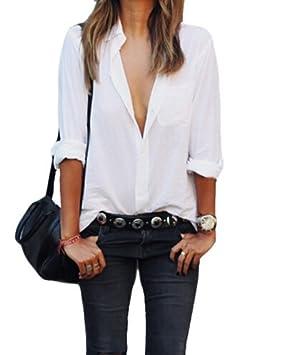 iumer Mujer Camiseta bolsillo para mujer Casual de las mujeres manga larga blusas moda Otoño Plus