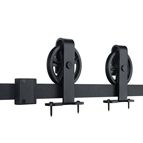 Interior Garage Door (SMARTSTANDARD 6.6ft Sliding Barn Door Hardware (Black) (T Shape Big Industrial Wheel Hanger) (1 x6.6 foot Rail))