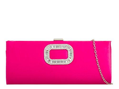 Bridal's Bag mate's Women's LeahWard Fuchsia Bridal 746 Wedding Handbags Satin Clutch qZFqxtX