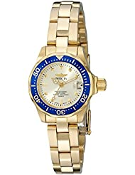 Invicta Womens 14126 Pro Diver Gold Dial 18k Gold Ion-Plated Stainless Steel Watch