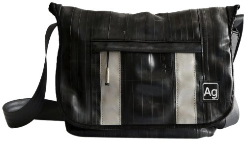 Alchemy Goods Pine Messenger Bag, Made from Recycled Bike Tubes, Black