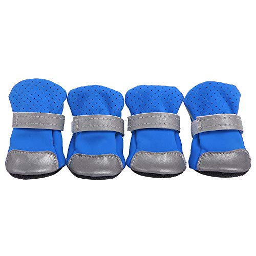 Dogs Booties | Inkach 4pcs Puppy Outdoor Running Sports Shoes | Anti-Slip Soft Bottom Pet Shoes Winter Snow Boots Warm Paw Protectors (Label Size:2, Blue)