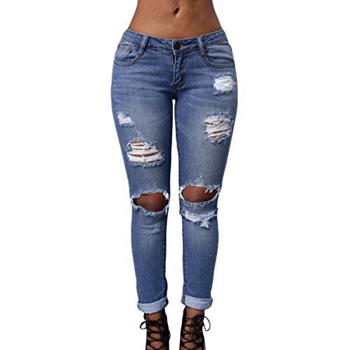 [TomYork Blue Destroyed Boyfriend Skinny Jeans(Size,L)] (Witch Coustumes)
