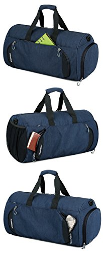 Gym Sports Small Duffel Bag for Men and Women with Shoes Compartment - Mouteenoo (Small, Blue/Black) by Mouteenoo (Image #6)