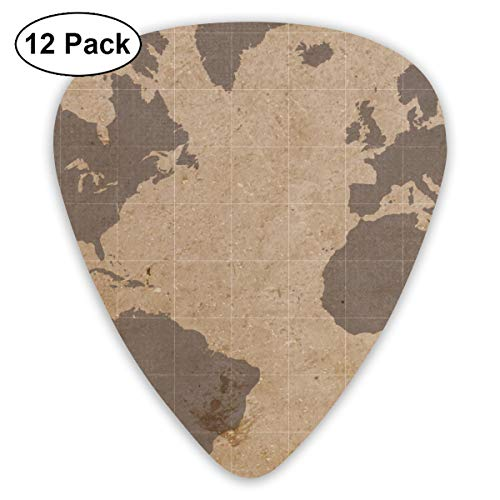 (Antiqued World Map Ultra Light 0.46 Medium 0.73 Heavy 0.96mm Printed Round Flat Soft Plastic Jazz Electric Acoustic Bass Guitar Pick Accessories Variety)