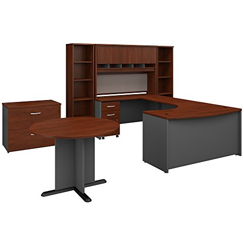 Front Desk Furniture - Bush Business Furniture Series C 60W Left Handed Bow Front U Shaped Desk with Storage and Conference Table in Hansen Cherry