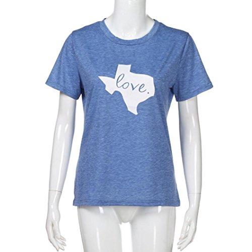 shirt shirt T courtes Femme de manches Lettre Blouse Saint Basic Shirt T TOPS Bleu T Femme Imprim Cadeau Valentin Hehem manches courtes nUwqAdUY